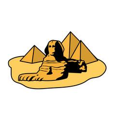 Color famous giza egypt sculpture pyramids vector