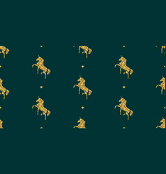 Colorful gold unicorn on green magical animal vector