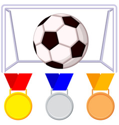 Colorfull cartoon soccer ball gate medal icon set vector