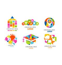creative idea logo templates collection colorful vector image