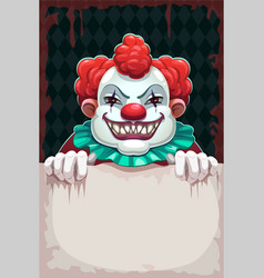 Creepy circus poster scary evil clown with paper vector