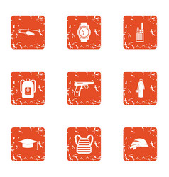 Crime challenge icons set grunge style vector