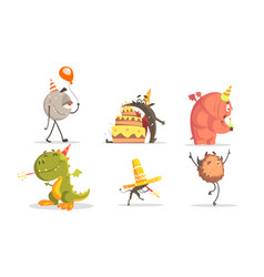 Cute cartoon monsters characters set birthday vector