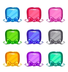 Cute colorful cartoon square buttons set vector