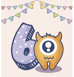 Cute monster with number six birthday card vector
