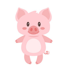 cute pink standing pig vector image