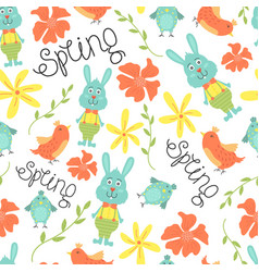 cute seamless pattern with flowers birds vector image