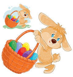 Easter bunny holding a basket for hunting vector