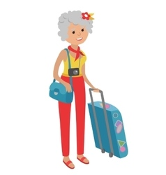 Elderly woman traveling isolated vector