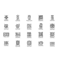 Ethnic mexican decor icons set for your design vector