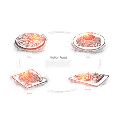 european cuisine tasty dishes sliced pizza vector image