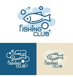 Fish point logos or badges template collection vector image