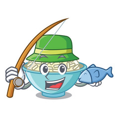 fishing rice bowl mascot cartoon vector image