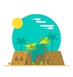 Flat design of beach bungalows vector image