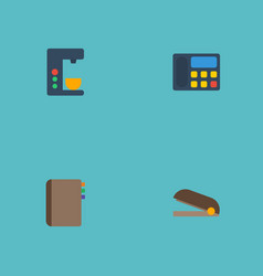 Flat icons espresso machine puncher phone and vector