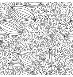 Floral seamless pattern Black and white doodle vector