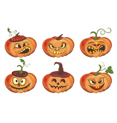 Frightful halloween pumpkin vector image