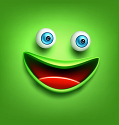 Funny green smiling face emoticon emoji vector