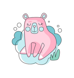 Funny pink and blue cartoon of bear vector