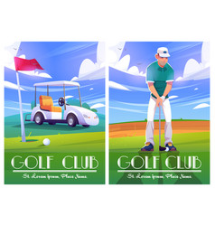 Golf club posters with green course cart player vector