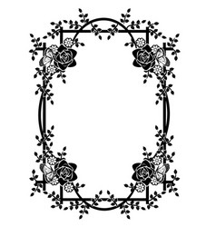 Graphic element frame and flowers 2 vector
