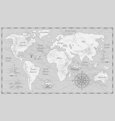 Gray world map earth antiquity paper map vector