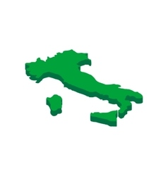 Green Italy map icon isometric 3d style vector