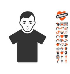 Guy icon with lovely bonus vector