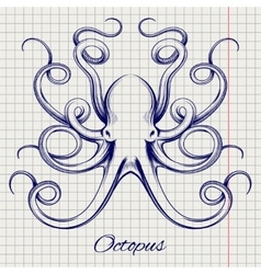 Hand drawn pen sketch octopus vector image