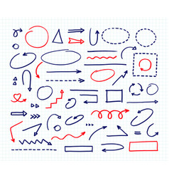 handcrafted elements hand drawn arrows set on vector image