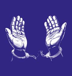 hands break chain handcuffs a symbol of vector image