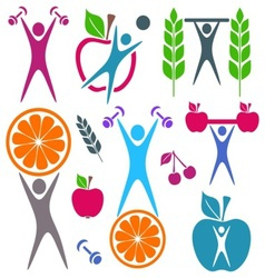 Health and food icons vector image