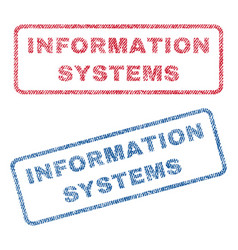 Information systems textile stamps vector
