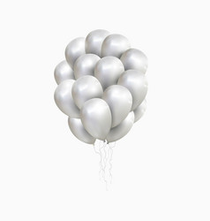 isolated sheaf of silver balloons vector image
