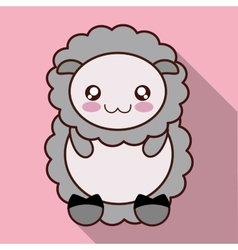 Kawaii sheep icon Cute animal graphic vector