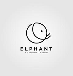 line art elephant logo design vector image