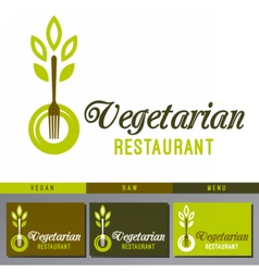 Logo for vegan cafe menu vector