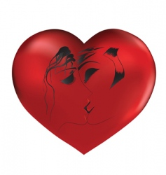 loved couple on red heart vector image
