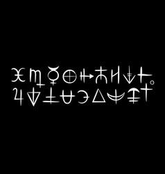 Magic white alchemical symbols on a black vector