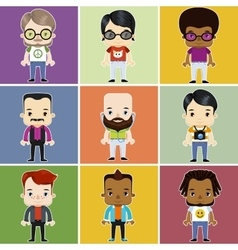 Male Hipster Avatar set vector