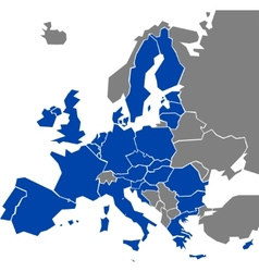 Map europe with marked eu members vector