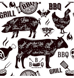 Meat cuts and barbecue seamless pattern vector