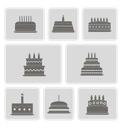 monochrome icons with birthday cakefor vector image vector image