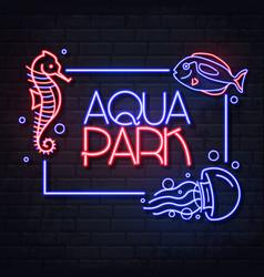 neon sign aqua park with sea horse fish vector image