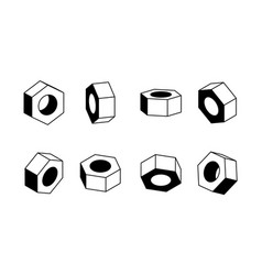 nut in various angles design black and white vector image