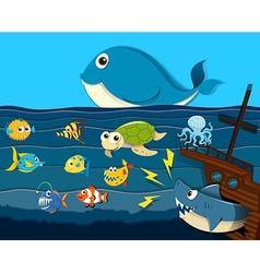 Ocean scene with sea animals vector