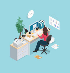 office workplace isometric composition vector image vector image