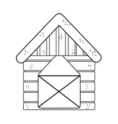 Outline wood farm house with roof and door vector