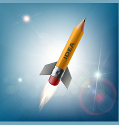 pencil in the form of a rocket flying in the sky vector image