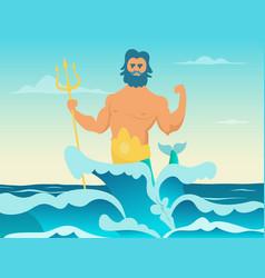 Poseidon greek god of the sea vector